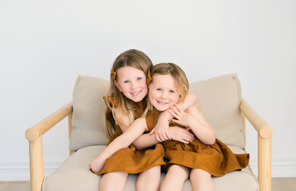kids photos of Belle and Stella taken by our Auckland child photographer at Milk Photography Studio